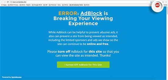 Bloqueo de AdBlock