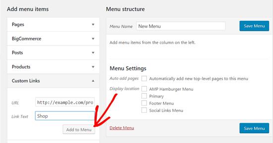 Agregar un enlace personalizado al menú de WordPress