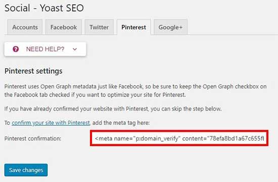 Thêm thẻ HTML vào Pinterest lĩnh vực xác nhận
