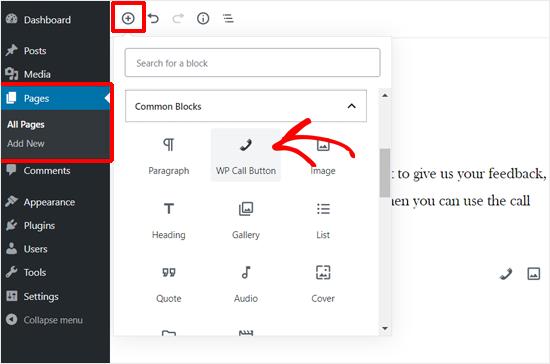 Agregar bloque de botón de llamada WP en WordPress