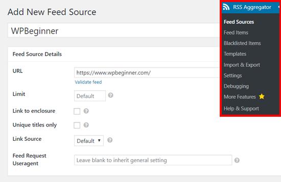 Agregar nueva fuente de alimentación en el agregador RSS de WP