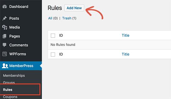 Agregar nuevas reglas en MemberPress