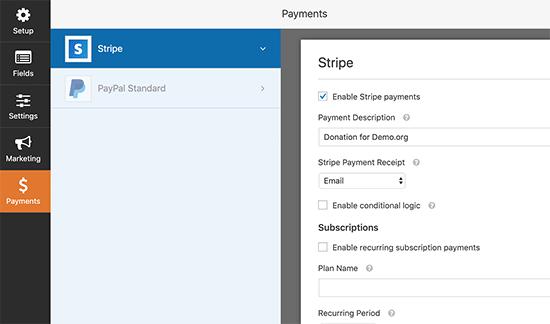 Habilitar opción de pago