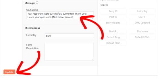 Agregue código corto para mostrar la puntuación de la prueba en WordPress