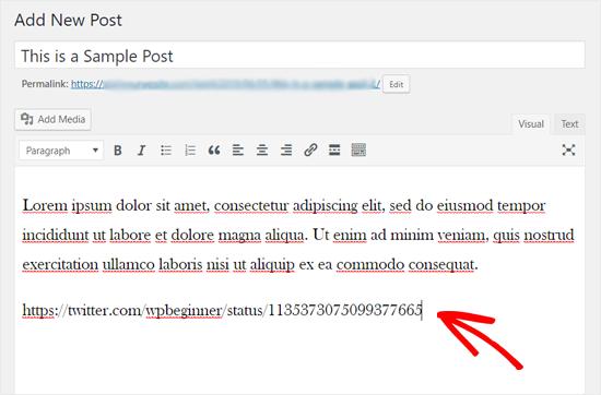 Añadir Twitter URL en el editor clásico de WordPress