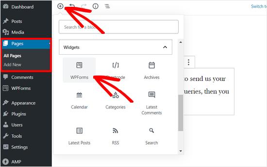 Agregue el bloque WPForms a la publicación o página de WordPress