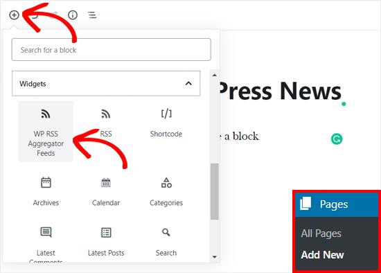 Agregar WP RSS Aggregator Block en la página de WordPress