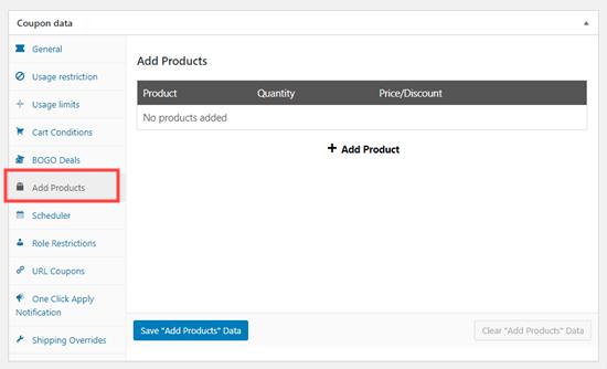 Haga clic en la pestaña 'Agregar productos'