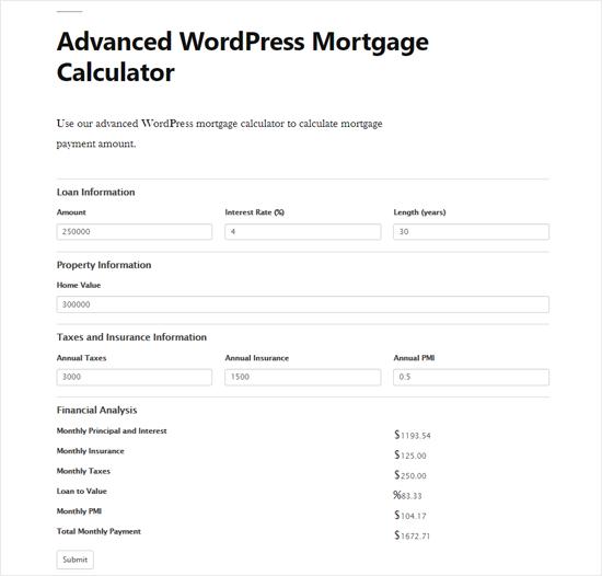 Vista previa avanzada de la calculadora de hipotecas de WordPress