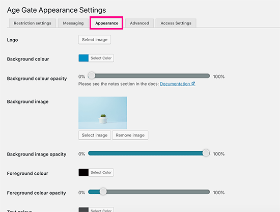 Configuración de apariencia para la pantalla de verificación de edad