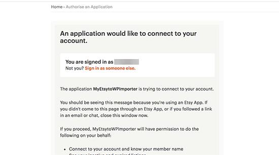 Permita que la aplicación acceda a su tienda Etsy
