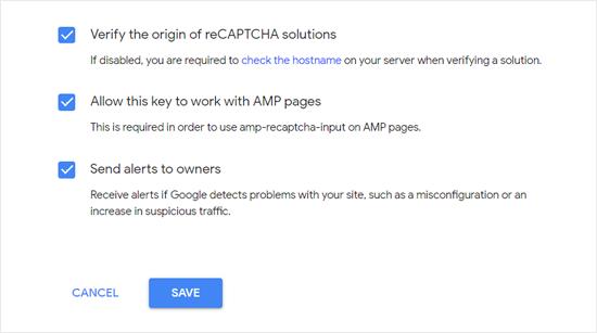 ReCAPTCHA'nın AMP səhifələrində işləməsinə icazə verin