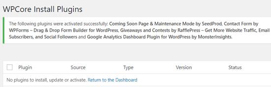 Todos los complementos activaron el mensaje en WordPress con WPCore