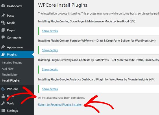 Todos los complementos instalados en WordPress con WPCore