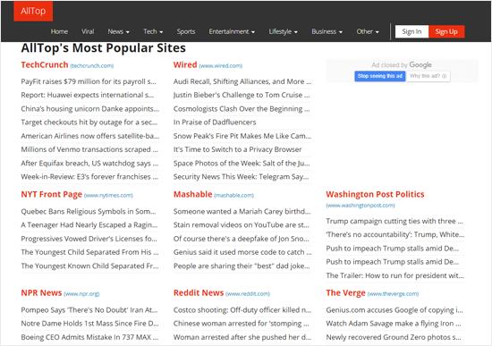 Sitio web de AllTop News Aggregator