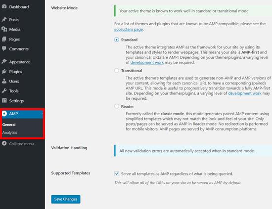 Configurações do AMP para WordPress