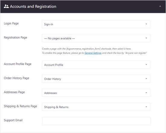 BigCommerce para la cuenta de WordPress y la configuración de registro