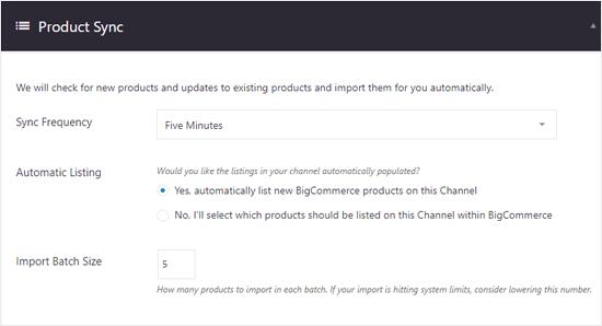 Opciones de sincronización de productos de BigCommerce para WordPress