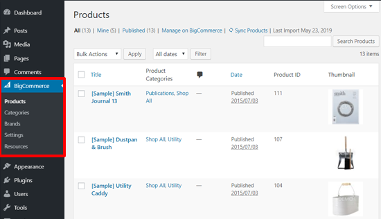 Productos de muestra de BigCommerce en el panel de WordPress