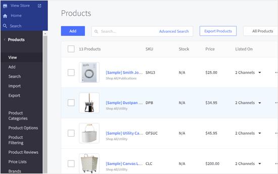 Página de productos BigCommerce