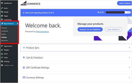 Configuración de BIgCommerce para WordPress