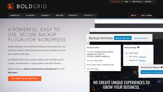Plugin sao lưu WordPress BoldGrid