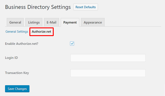 Authorize.net Konfiguration des Business Directory Plugins