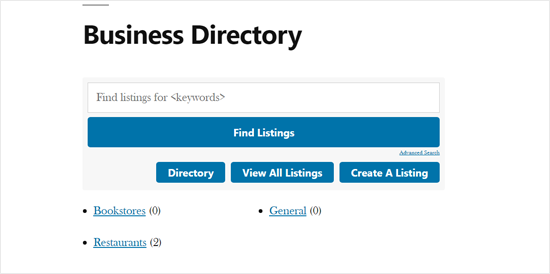 Business Directory Demo con el tema predeterminado de WordPress