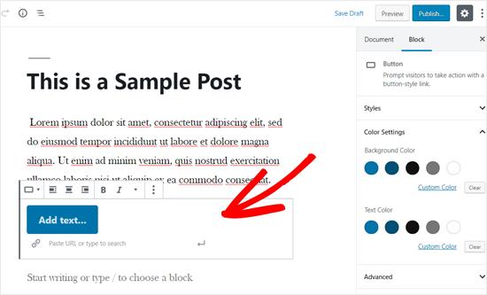 Bloque de botones agregado al editor de publicaciones de WordPress