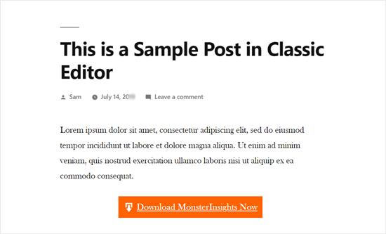 Vista previa del botón: editor clásico incorporado