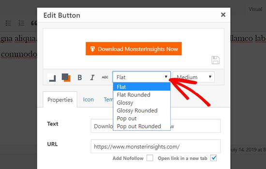 Elija un estilo de botón en el editor clásico de WordPress