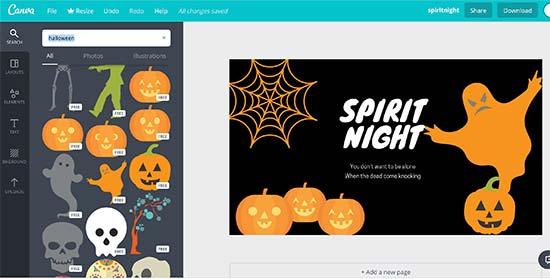 Canva para gráficos de halloween