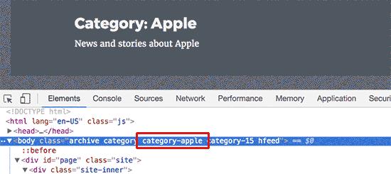 Clase de categoría agregada al elemento del cuerpo por WordPress