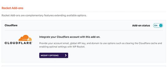 Habilitar el complemento Cloudflare