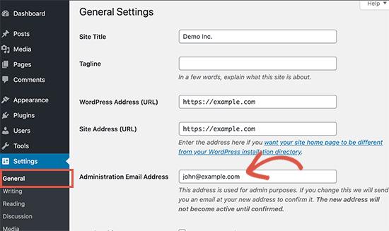 Cambiar dirección de correo electrónico de administrador