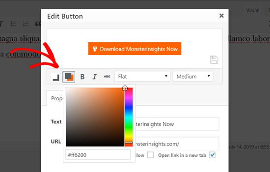 Cambiar el color de fondo del botón en WordPress Classic Editor