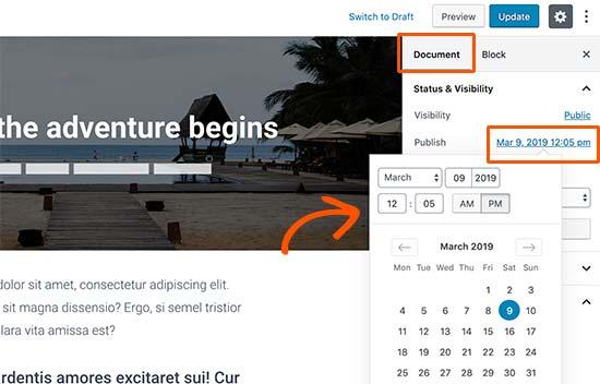 Cambiar la fecha de publicación de una publicación de blog