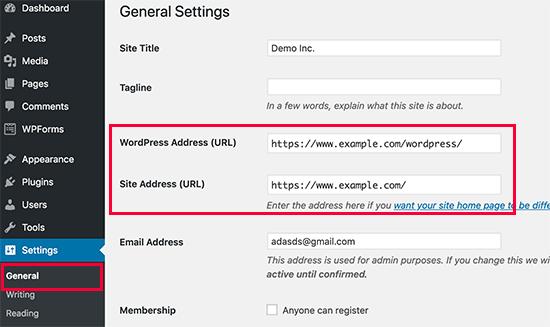 Cambiar la dirección del sitio de WordPress