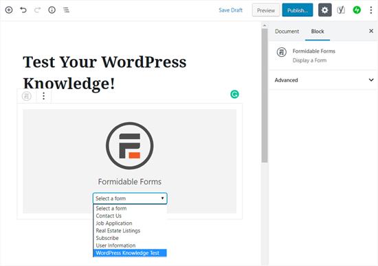 Elija su widget de formulario de prueba en WordPress