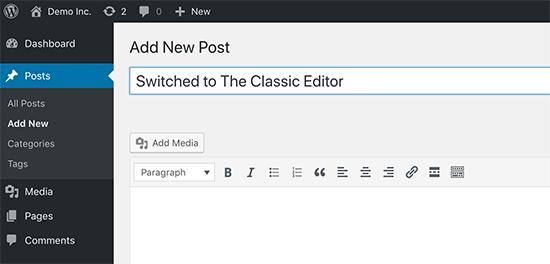 Prepnite na klasického editora