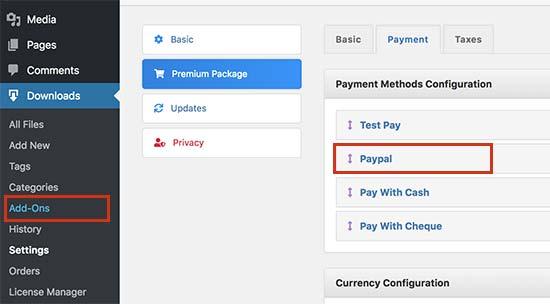 Configurar ajustes de pago