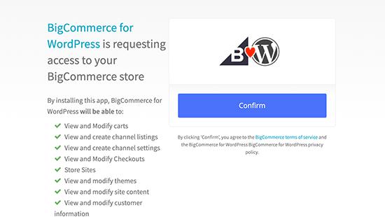Confirme la conexión de BigCommerce