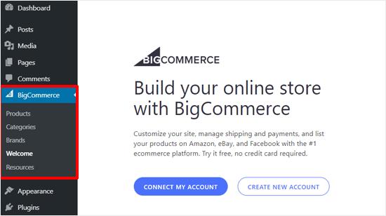 Conéctese con una cuenta de BigCommerce o cree una cuenta nueva