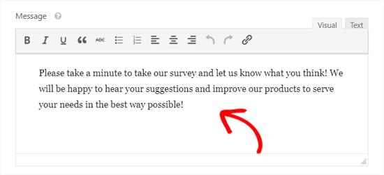 Zielseiten-Nachricht für Konversationsformulare