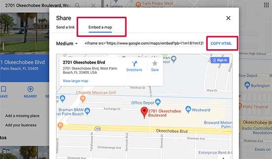 Copia el código de inserción de Google Maps