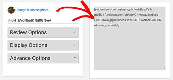 Copiar código corto de reseñas de Yelp