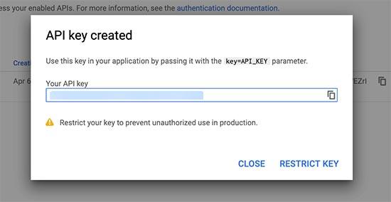 Copiar clave de API del navegador