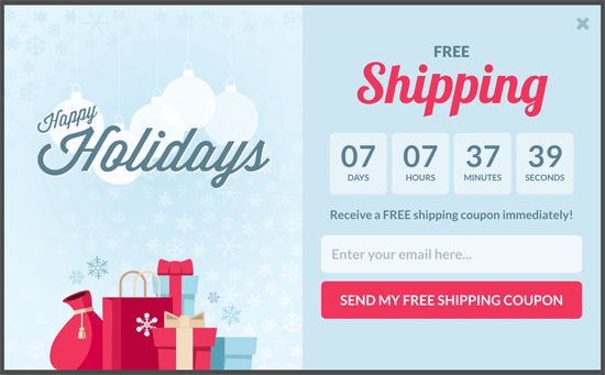 OptinMonster Holiday Countdown Timer Popup