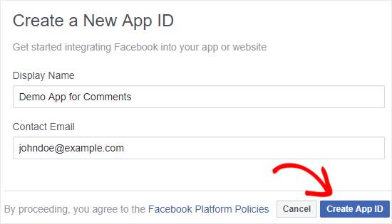Crear un nuevo Facebook aplicación