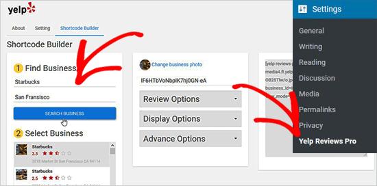 Crea códigos cortos para las reseñas de Yelp